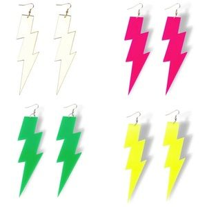 EARRINGS - long neon lightening bolt